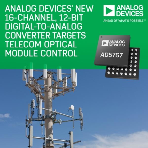 AD5767 i AD5766 - przetworniki C/A do telekomunikacyjnych modułów optycznych
