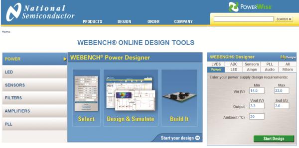 National Semiconductor Webench do projektowania zasilaczy impulsowych