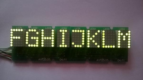 Znaki ASCII dla modułu wyświetlacza LED 5x7