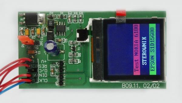 Obsługa wyświetlacza telefonu Nokia 6100 ze sterownikiem Epson S1D15G00